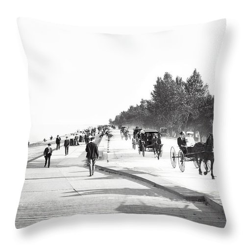 Chicago Throw Pillow featuring the photograph North Lake Shore Drive - Chicago 1905 by Daniel Hagerman