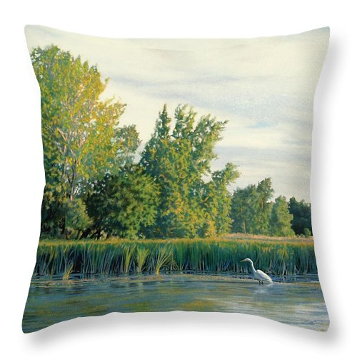 Great Egret Throw Pillow featuring the drawing North Of The Grade-great Egret by Bruce Morrison