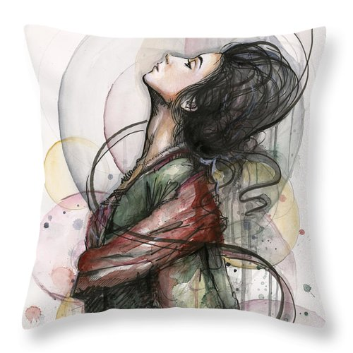 Watercolor Throw Pillow featuring the painting Beautiful Lady by Olga Shvartsur