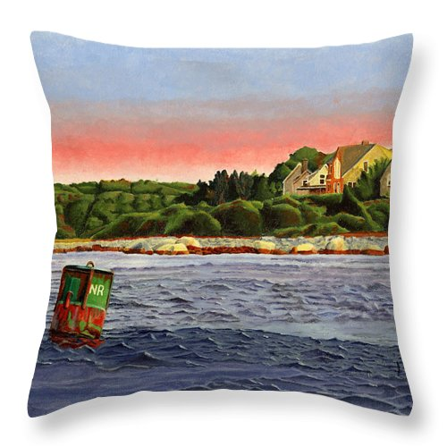 River Throw Pillow featuring the painting North River At Sunset by Dominic White