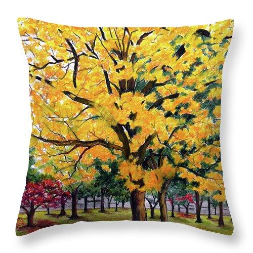 Yellow Poui Throw Pillow featuring the pastel North Savannah Poui by Karin Dawn Kelshall- Best