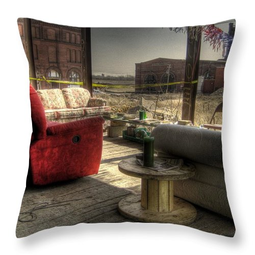 Hdr Throw Pillow featuring the photograph North St. Louis Porch by Jane Linders