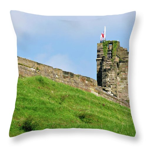 Bright Throw Pillow featuring the photograph North Tower- Tutbury Castle by Rod Johnson