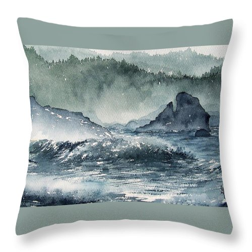 Ocean Throw Pillow featuring the painting Northern California Coast by Gale Cochran-Smith