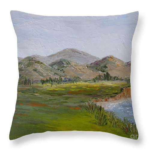 Landscape Throw Pillow featuring the painting Northern California Coast Line by Jeanie Watson
