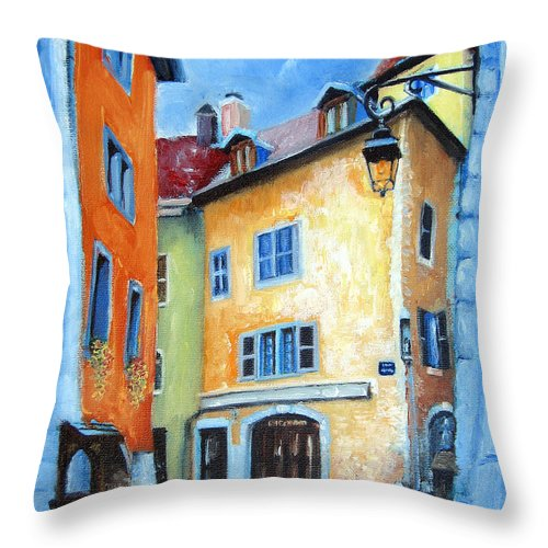 Italy Throw Pillow featuring the painting Northern Italian Town by Leonardo Ruggieri