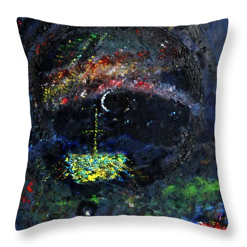 Votive Throw Pillow featuring the painting Northern Lights by Andy Mercer