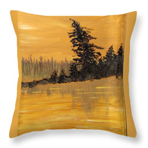 Northern Ontario Throw Pillow featuring the painting Northern Ontario Three by Ian MacDonald