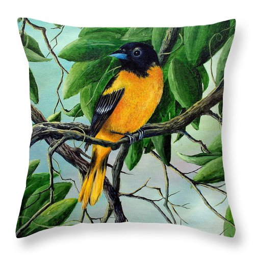 Oriole Throw Pillow featuring the painting Northern Oriole by David G Paul