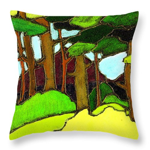 Trees Throw Pillow featuring the painting Northern Pathway by Wayne Potrafka