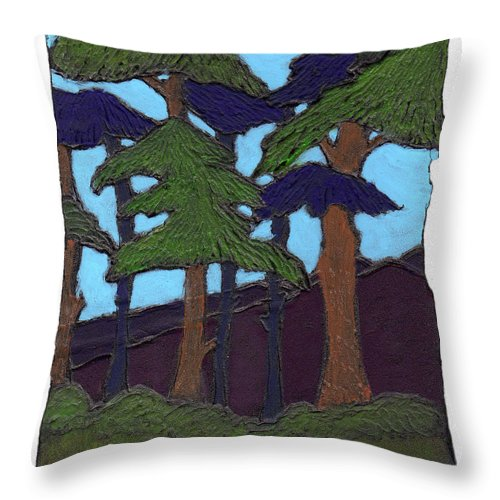 Tree Throw Pillow featuring the painting Northern Woods by Wayne Potrafka