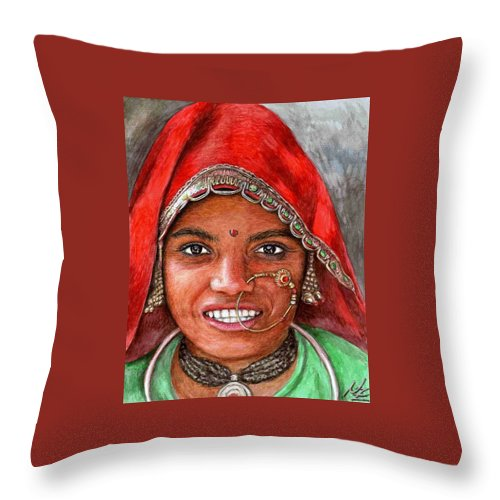 Woma Throw Pillow featuring the painting Northindian Woman by Nicole Zeug