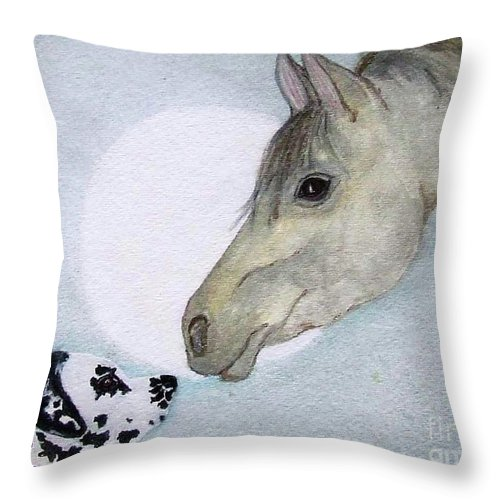 Dog Throw Pillow featuring the painting Nose 2 Nose by Jacki McGovern