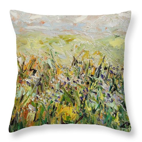 Field Paintings Throw Pillow featuring the painting Nose Hill by Seon-Jeong Kim