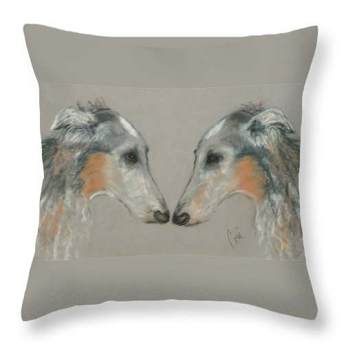 Dog Throw Pillow featuring the drawing Nose To Nose by Cori Solomon