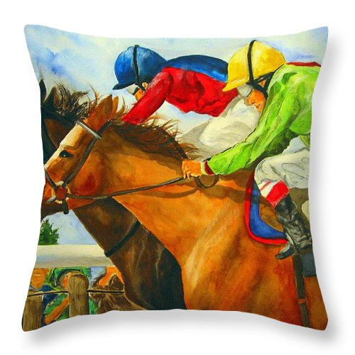 Horse Throw Pillow featuring the painting Nose to Nose by Jean Blackmer