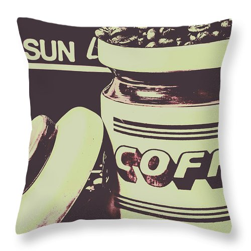 Drink Throw Pillow featuring the photograph Nostalgic Cafe Art by Jorgo Photography - Wall Art Gallery
