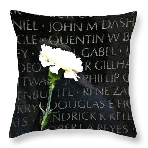 Vietnam Memorial Throw Pillow featuring the photograph Not Forgotten by Mary Haber
