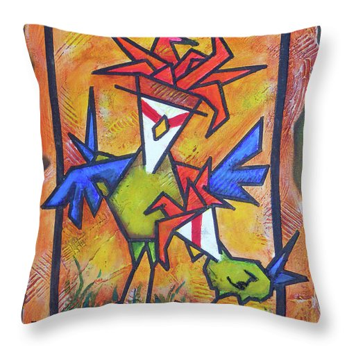 In Trouble Throw Pillow featuring the painting Not Gonna Tell You Again by Bobby Jones