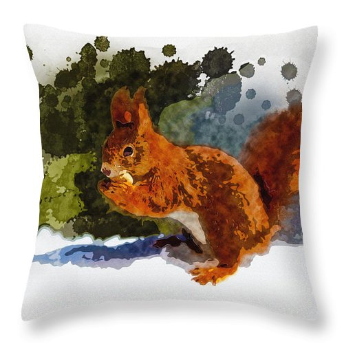 Art & Collectibles Throw Pillow featuring the digital art Not Much Goes On In The Mind Of A Squirrel by Don Kuing