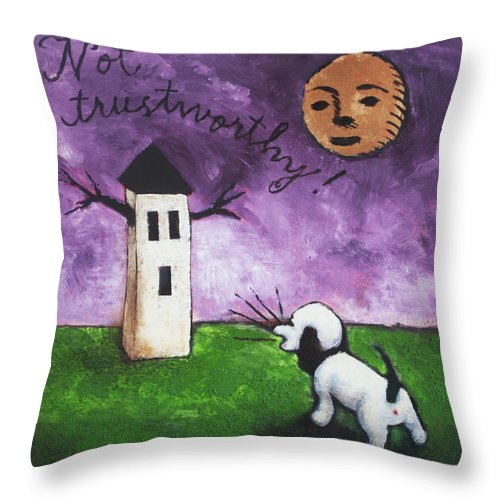 Dog Throw Pillow featuring the painting Not Trustworthy by Pauline Lim
