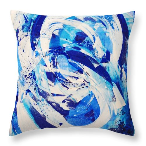 Abstract Throw Pillow featuring the painting Not What It Started As by Lauren Luna