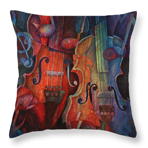 Susanne Clark Throw Pillow featuring the painting Noteworthy - A Viola Duo by Susanne Clark