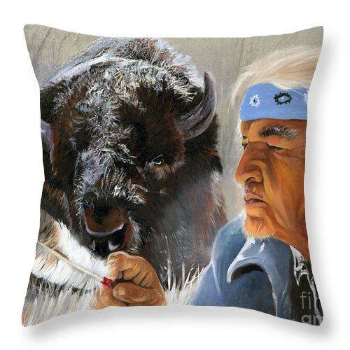 Southwest Art Throw Pillow featuring the painting Nothing Is Ever Forgotten by J W Baker