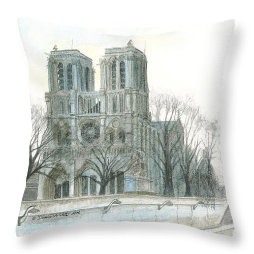 Notre Dame Throw Pillow featuring the painting Notre Dame Cathedral In March by Dominic White