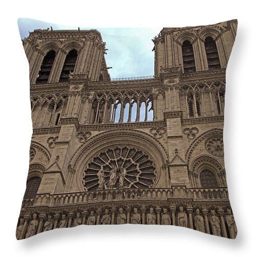 Architecture Throw Pillow featuring the photograph Notre-dame Cathedral by Mark Sellers