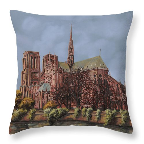 Paris Throw Pillow featuring the painting Notre-dame by Guido Borelli