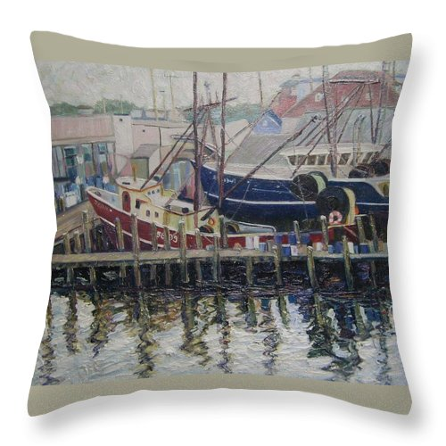 Boats Throw Pillow featuring the painting Nova Scotia Boats At Rest by Richard Nowak