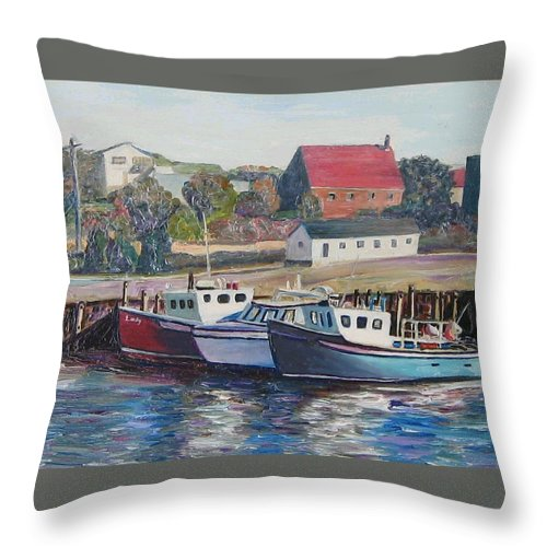 Nova Scotia Throw Pillow featuring the painting Nova Scotia Boats by Richard Nowak