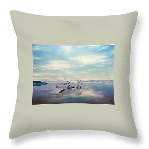 Late Novemeber In Bavaria Throw Pillow featuring the painting November On A Bavarian Lake by Helmut Rottler