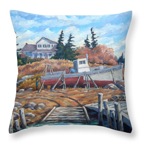 Boat Throw Pillow featuring the painting Novia Scotia by Richard T Pranke