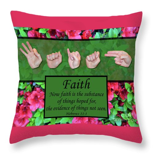 Christian Throw Pillow featuring the photograph Now Faith by Master's Hand Collection