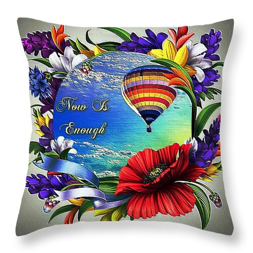 Flowers Throw Pillow featuring the digital art Now Is Enough by Clive Littin