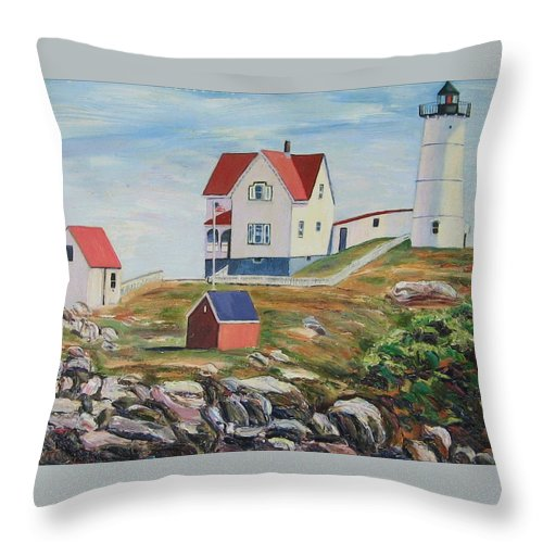 Nubble Light House Throw Pillow featuring the painting Nubble Light House Maine by Richard Nowak