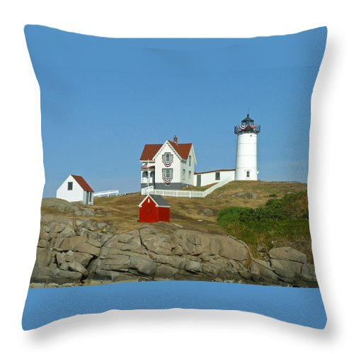 Nubble Throw Pillow featuring the photograph Nubble Light by Margie Wildblood