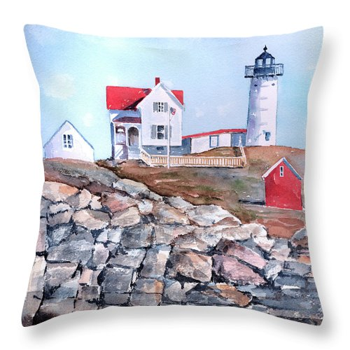 House Throw Pillow featuring the painting Nubble Lighthouse - Maine by Arline Wagner