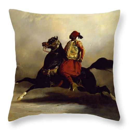 Nubian Throw Pillow featuring the painting Nubian Horseman At The Gallop by Alfred Dedreux or de Dreux