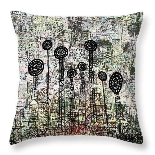 Urban Garden Throw Pillow featuring the digital art Nuclear Garden by Andy Mercer