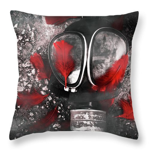 Gasmask Throw Pillow featuring the photograph Nuclear Smog by Jorgo Photography - Wall Art Gallery