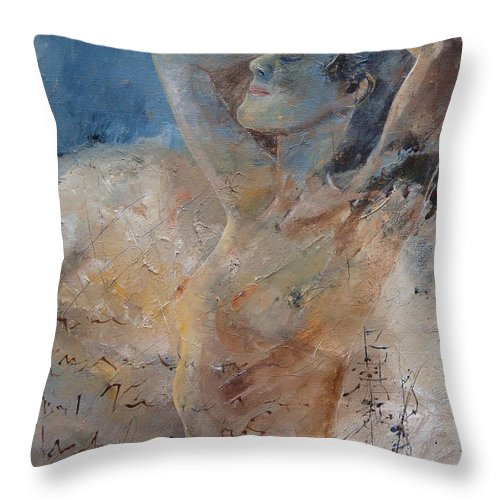 Nude Throw Pillow featuring the painting Nude 0508 by Pol Ledent