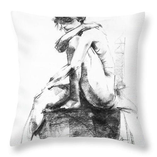 Nude Throw Pillow featuring the drawing Nude 11 by Ani Gallery