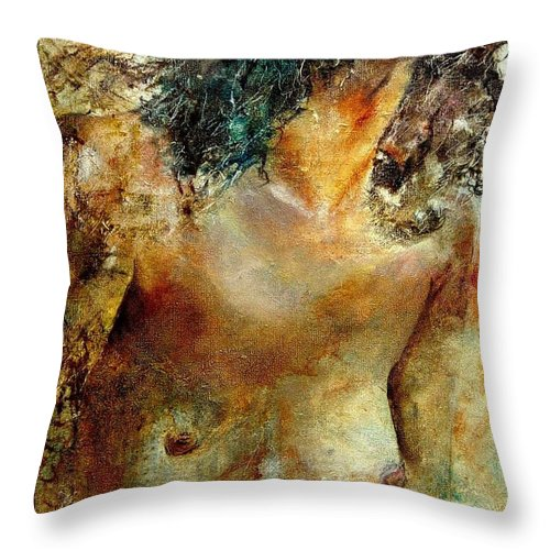 Girl Nude Throw Pillow featuring the painting Nude 34 by Pol Ledent