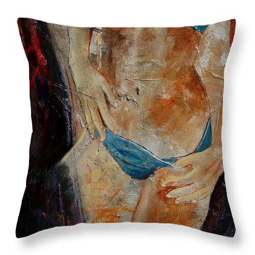 Girl Nude Throw Pillow featuring the painting Nude 450608 by Pol Ledent