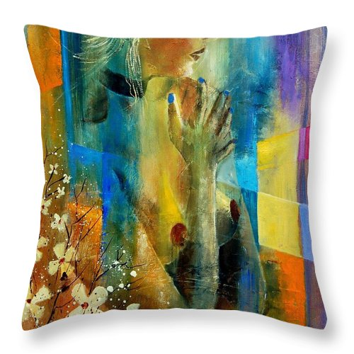 Nude Throw Pillow featuring the painting Nude 5609082 by Pol Ledent