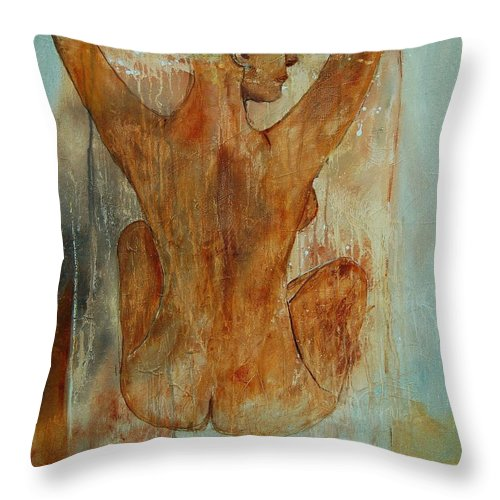 Nude Throw Pillow featuring the painting Nude 56901101 by Pol Ledent