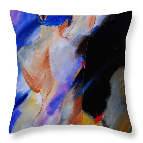 Nude Throw Pillow featuring the painting Nude 579020 by Pol Ledent
